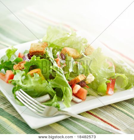 salad with beaming sunlight