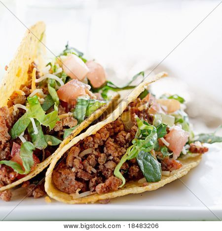 Beef tacos with lettuce cheese and tomato