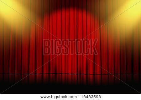 stage of show with closed red curtains