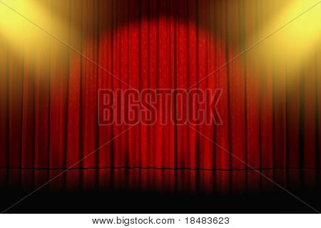 yellow spotlights shining down on an empty stage with closed red curtains with stars