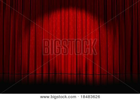 spotlight cast on closed red curtains with stars on an empty stage