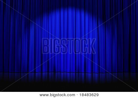 spotlight cast on closed blue curtains with stars on an empty stage