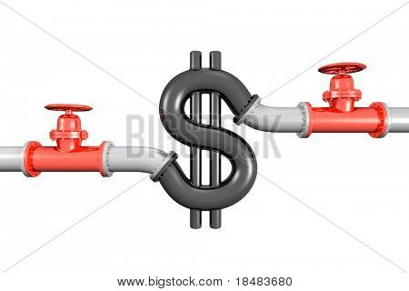 3d piping and shut off valves on both sides of a dollar sign