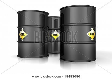 3d black barrels of oil with yellow labels