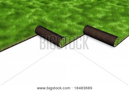 Green 3d sod being unrolled to cover a yard on a white background