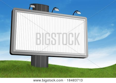 Blank billboard at the top of a grassy hill against a sky background