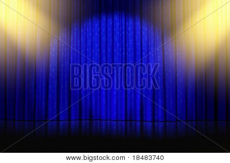 Illustration of yellow spotlights and star patterns shining down onto an empty stage with closed blue curtains