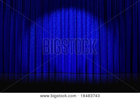 Illustration of a spotlight and star patterns cast on closed blue curtains on an empty stage