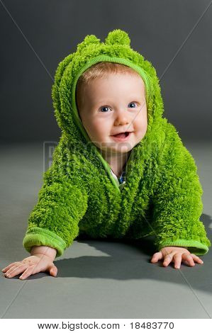 Baby In A Frog Outfit