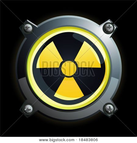 Illustration of a shiny yellow radiation button icon