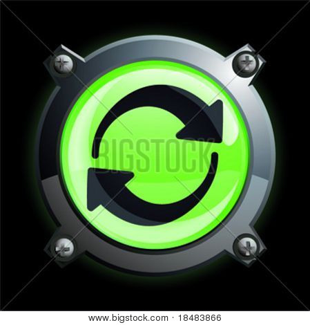 Illustration of a chrome and green recycle or green energy icon button