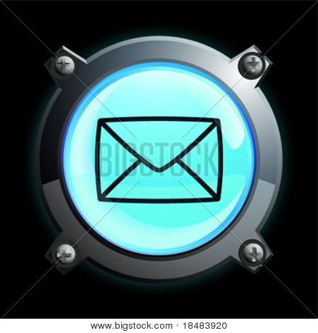 Illustration of a glowing blue sealed envelope button