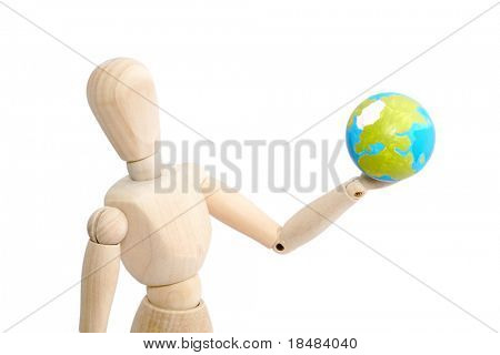 Articulated puppet holding earth globe in a hand