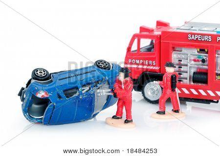 Bombeiros, no acidente de carro