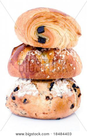 Piled french bakery products