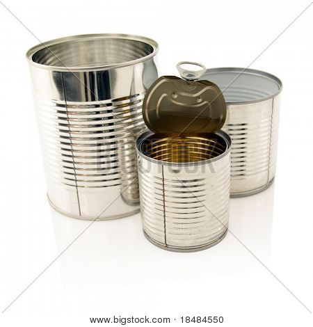 empty cans of food on white background