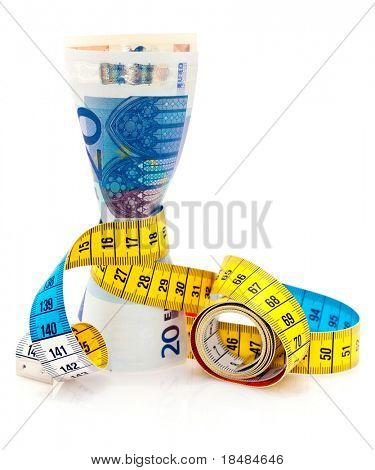 Bunch of Euro notes tied together with a tape measure.