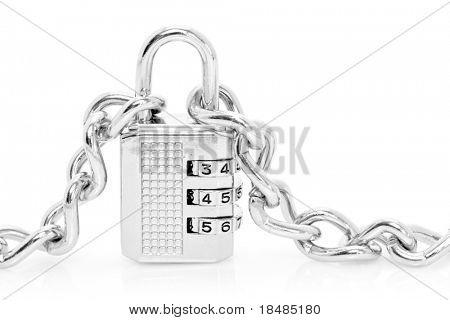 Silver chains fastened to numbered combination padlock, isolated on white background.
