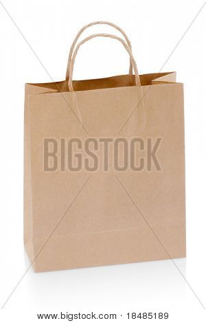 A brown paper shopping bag isolated on white background
