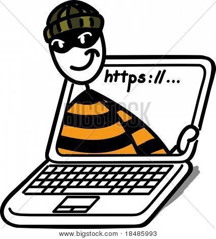 halten Sie Einbrecher in einem Laptop-Bildschirm