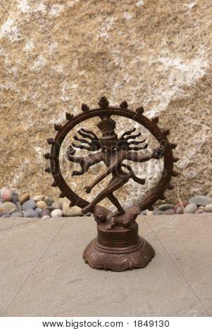 Bronze Shiva On Granite.  .