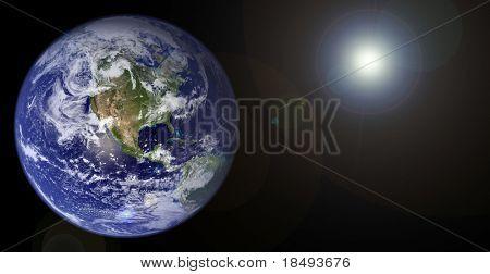 Planetenerde mit Sonne.