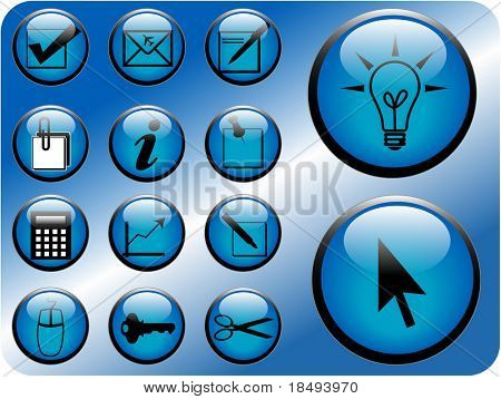 Business icon vectors in blue.