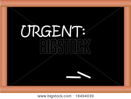 Blackboard vector with text Urgent. Text can be replaced or removed.
