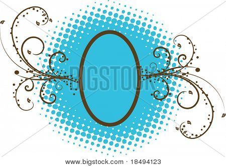 Floral vector with swirl, curvy vines and retro spots. For JPG version look for image 2356758.