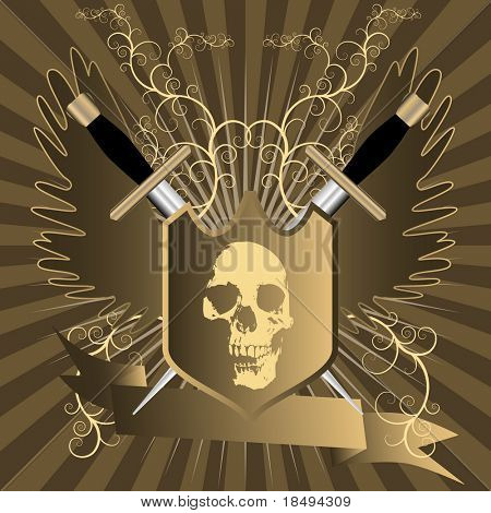 Vector - Shining shield with skull embedded in front and swords, wings and a floral background. Banner with copy space for text.