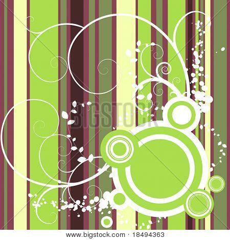 Vector - Bright y rayas de colores con grunge floral y círculos retro.