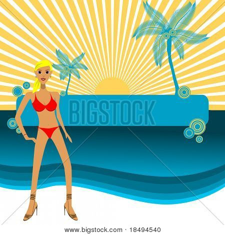 High Res Jpeg - Girl in bikini posing in front of a paradise island, copy space to insert your text.