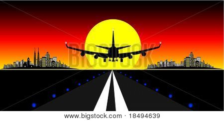 High Res Jpeg - Brightly lit modern city with plane landing on a runway at sunset.