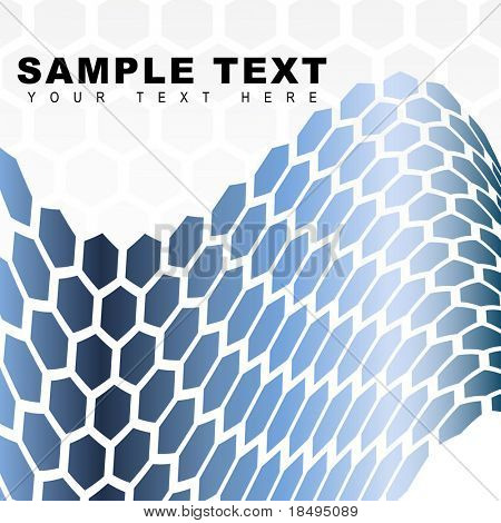 Vector - Metallic retro hexagon forming a wave for background use.