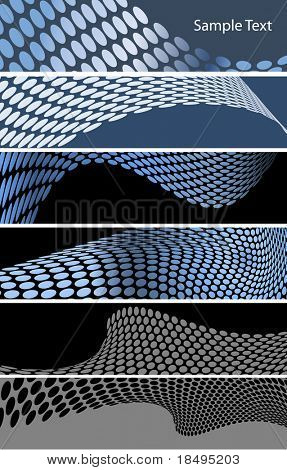 Vector - Metallic halftone retro dots banners forming a wave for background use.