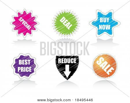Vector - Glossy sale tag stickers with reflection and various sales pitch.