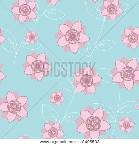 Vector - Seamless retro japanese spring flower pattern, can be tiled together to form a continuous background.