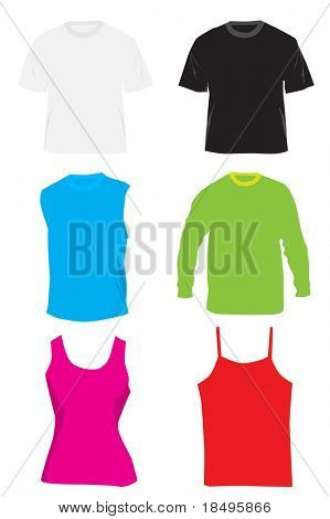 Raster - Blank shirts and tshirts. Colors can be changed and text inserted.