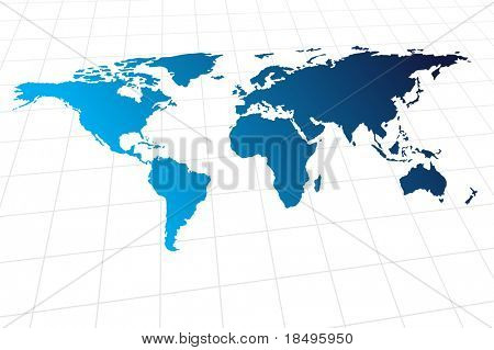 Vector - Modern global world map with metallic wave