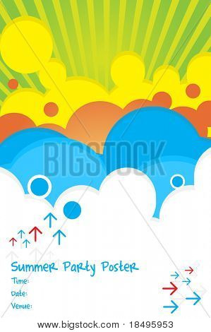 Vector - 70s retro colorful summer party poster.
