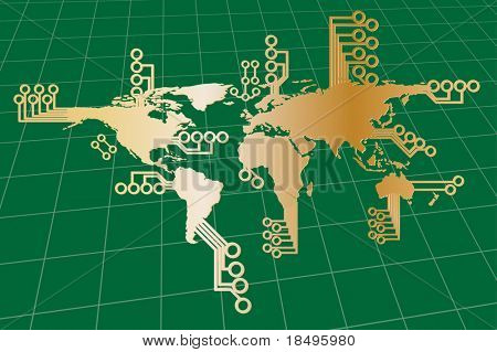Vector - Modern global world map with circuit board