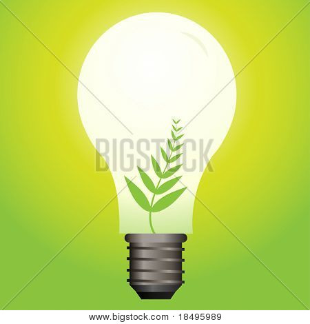 Vector - Ecological or green light bulb with leaf as the filament.