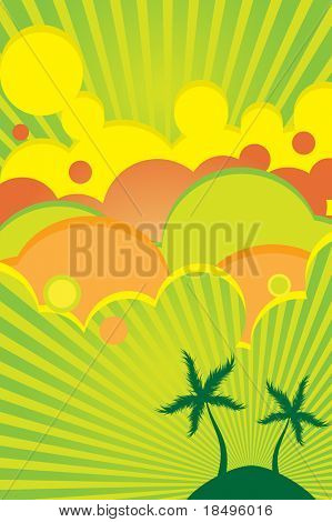 Raster - 70s retro colorful summer party poster with beach theme.