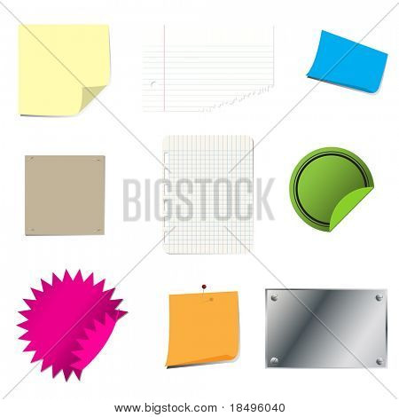 Vector - Sticky paper set with page curl