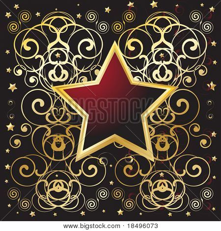 Vector - Golden shield with floral pattern, text messages can be inserted