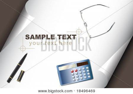 Vector - Stationery set with calculator pen glasses and corner curl paper for text insert