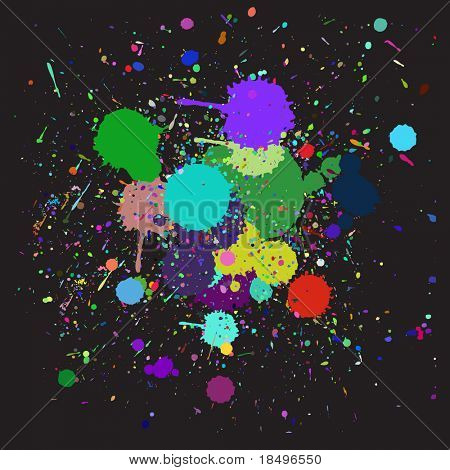 Vector - Colorful ink splash drips on a canvas, for background use
