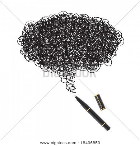 Vector - Illustration of a blot of ink drawing using a black pen forming a word bubble