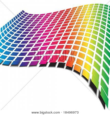 Vector - Retro pattern with rainbow colors forming a wave for background use