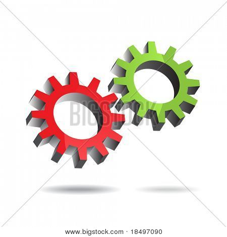 Raster - Illustration of two floating gears turning each other efficiently